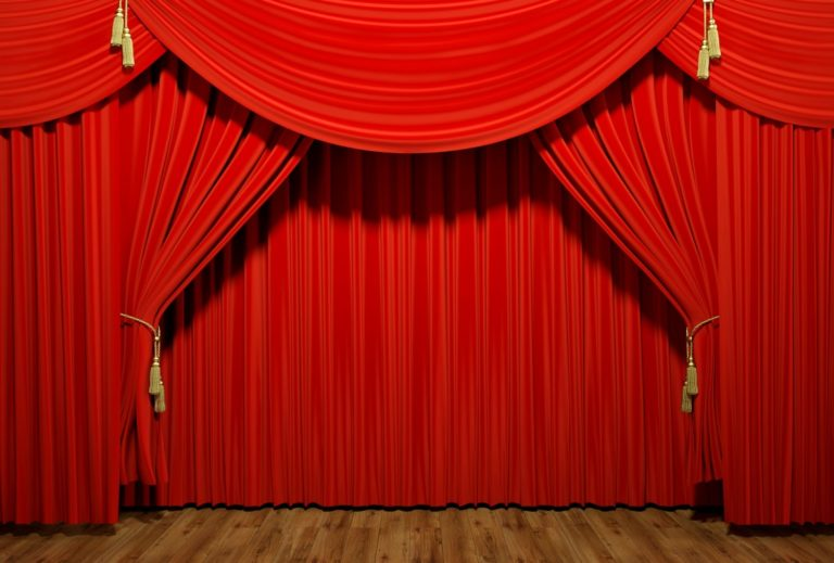 Very high resolution 3d rendering of red stage theater velvet drapes